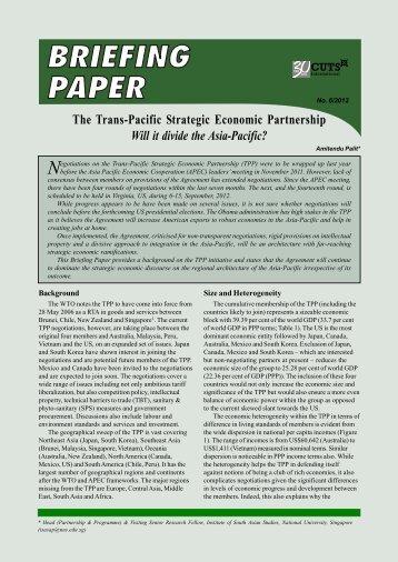 The Trans-Pacific Strategic Economic Partnership - CUTS Centre for ...