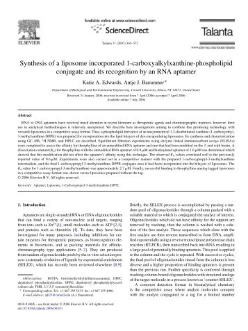 Synthesis of a liposome incorporated 1-carboxyalkylxanthine ...