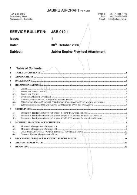 JABIRU AIRCRAFT PTY LTD SERVICE BULLETIN: JSB 012-1
