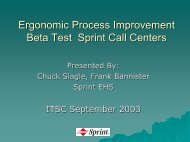 Ergonomic Process Improvement Beta Test – Sprint Call Center