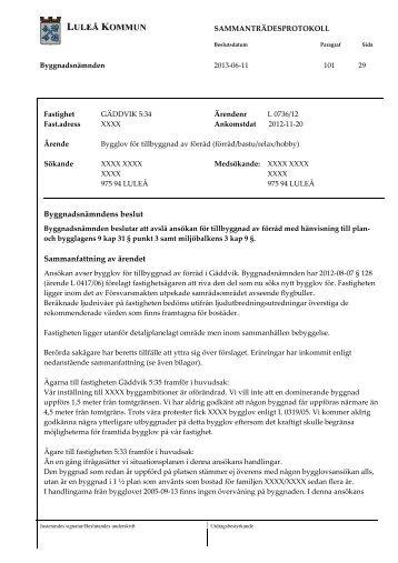 2013-06-11 § 101 Bygglov för tillbyggnad av förråd - förråd-bastu ...