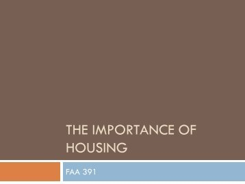 The Importance of Housing