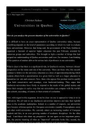 Universities in Quebec - Academic Foresights