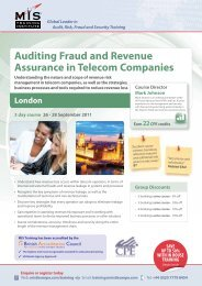 Auditing Fraud and Revenue Assurance in Telecom ... - MIS Training