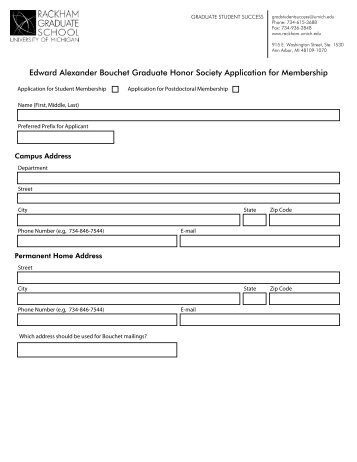 Edward Alexander Bouchet Graduate Honor Society Application for ...