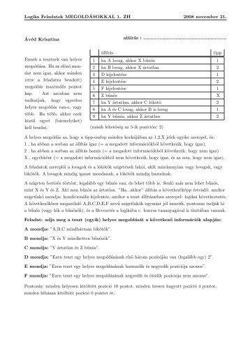 Logika Feladatok MEGOLD´ASOKKAL 1. ZH 2008 november 21 ...