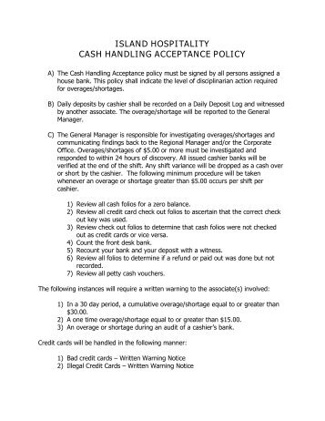 ISLAND HOSPITALITY CASH HANDLING ACCEPTANCE POLICY
