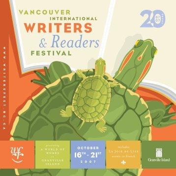 2007 Program - Vancouver International Writers Festival