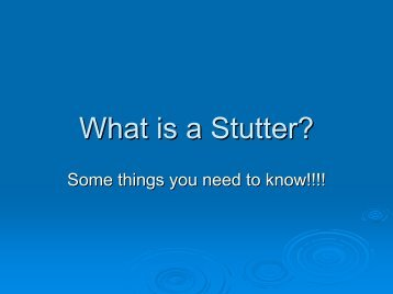 What is a Stutter? - Fluency Friday Plus