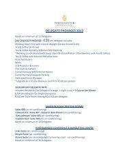 DELEGATE PACKAGES 2013 - Portmarnock Hotel and Golf Links