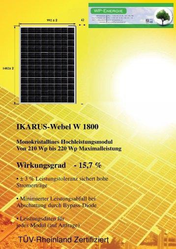 IKARUS-Webel W 1800 Wirkungsgrad - 15,7 % TÜV ... - WP - Energie