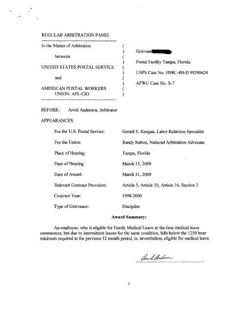 USPS #H98C-4H-D 99290624) [pdf] - APWU