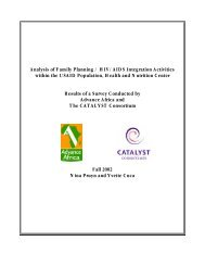 Analysis of Family Planning / HIV/AIDS Integration Activities