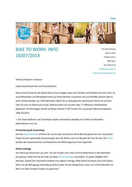 BIKE TO WORK: INFO 10/07/2013