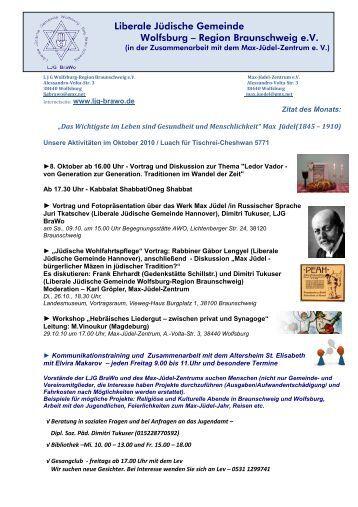 Plan für Oktober 2010 - Liberale Jüdische Gemeinde Wolfsburg ...