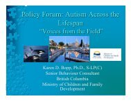 """Policy Forum: Autism Across the Lifespan - """"Voices from the Field"""""""