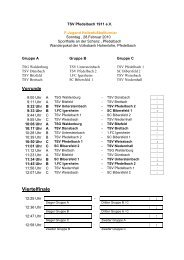 Spielplan F-Jugend Hallenfußballturnier - TSV Pfedelbach