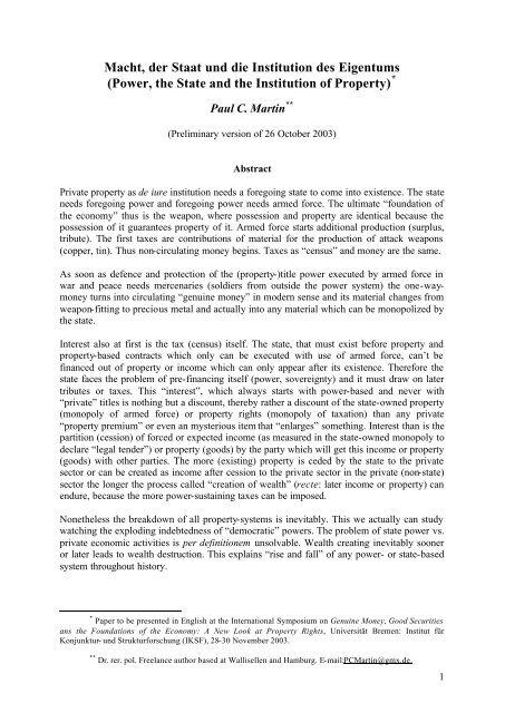Macht, der Staat und die Institution des Eigentums ... - miprox.de