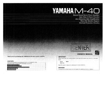 Owner's manual - Yamaha