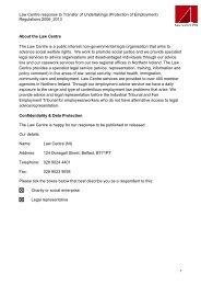 BIS and DEL: Tupe - Law Centre (NI)