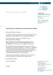 Bewerbung um ein Stipendium der Konrad-Adenauer-Stiftung Sehr ...