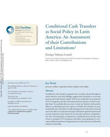Conditional Cash Transfers as Social Policy in Latin America: An ...