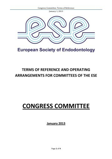 CONGRESS COMMITTEE - the European Society of Endodontology