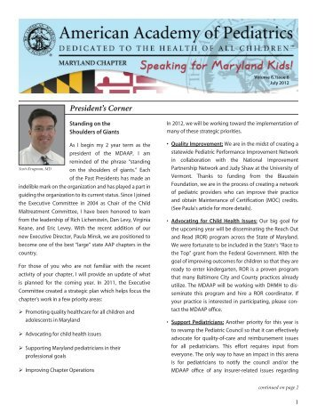 President's Corner - Maryland Chapter American Academy of ...