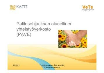 VeTe Potilasohjauksen alueellinen yhteistyöverkosto ... - VeTe-hanke