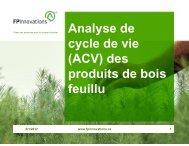 Analyse de cycle de vie (ACV) des produits de bois feuillu