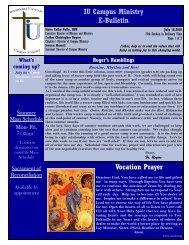 IU Campus Ministry E-Bulletin Vocation Prayer