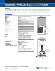 Personal PA® FM Monitor Receiver, Model PPA ... - Williams Sound