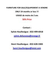 50% Price Contact : Sylvie Houllevigue : 832-499 ... - Houston Accueil