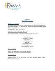 Page 1 First Snack All inclusive services Club Restaurant (Main ...
