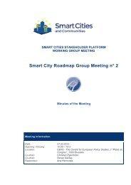 Smart City Roadmap Group Meeting n° 2 - Smart Cities Stakeholder ...