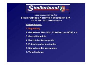 Programm der Versammlung - beim Siedlerbund-NRW