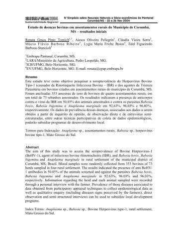 Estudo de doenças bovinas em assentamentos rurais do Município ...