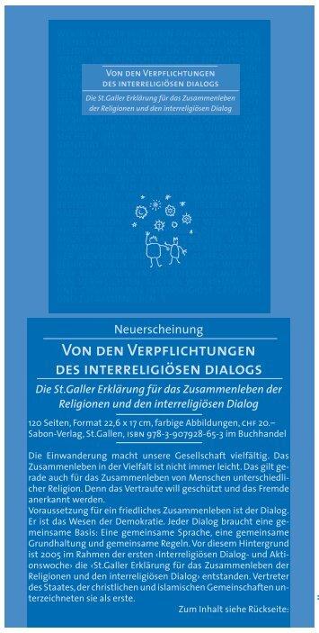 Von den Verpflichtungen des interreligiösen dialogs Offene ... - IDA