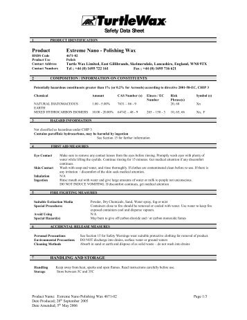 Safety Data Sheet Product Extreme Nano Polishing ... - Saxon Brands