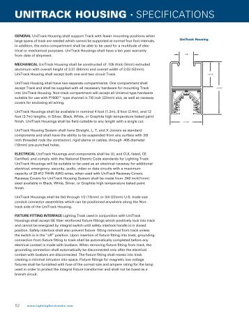 UNITRACK HOUSING • SPECIFICATIONS - Lighting Services Inc