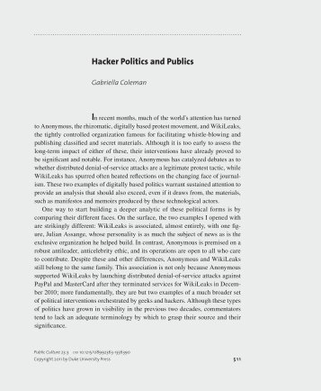 an analysis of hackers culture In hacked: a radical approach to hacker culture and crime, kevin steinmetz tries to scratch the disparate surface of a community that is often reviled and scrutinized as deviant or even criminal steinmetz divides his book into two parts and centers his analysis specifically on political economy the first half of the book is a.