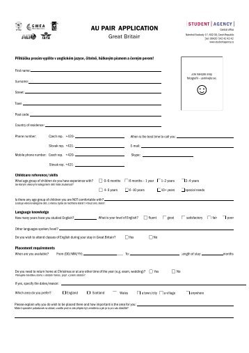 AU PAIR APPLICATION - Student Agency