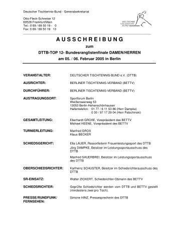 A U S S C H R E I B U N G - Deutscher Tischtennisbund DTTB