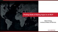 Porting Suite of Swing Apps to e4 RCP - EclipseCon