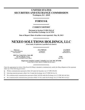 May 20, 2013 - 8-K - Nexeo Solutions