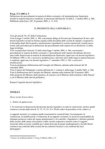 D.Lgs. 17-1-2003 n. 5 Definizione dei procedimenti in materia di ...