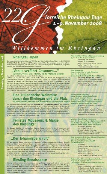 G22. lorreiche Rheingau Tage 1.– 9.November 2008 - VDP Rheingau