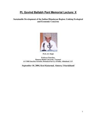 Pt. Govind Ballabh Pant Memorial Lecture: X