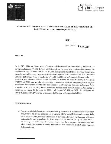 Resolución Proveedores Inscritos Mayo 2011 - Chileproveedores