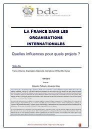 La France dans les organisations internationales - Base de ...